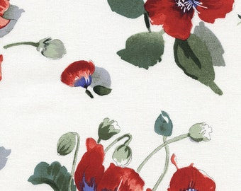 1/2 Yard Timeless Treasure Fresh Cut Poppies Bunches White by Michele D'Amore