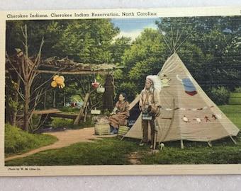Postcard Cherokee Indian Reservation N C Native American Postcard Linen