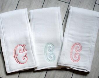 Set of 3 Girls Burp Cloths - Newborn gift - personalized baby gift