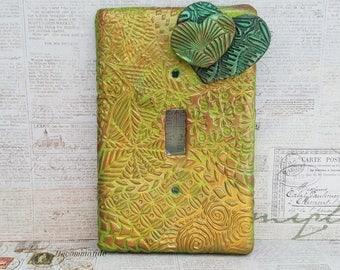 Green heart switch plate, green heart light switch, single toggle switch plate, single toggle light switch