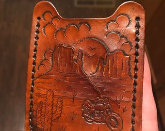 Handmade Motorcycle Leather Card Sleeve Wallet with Money Clip