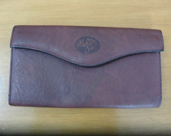 REDUCED! Buxton Burgundy cognac Top Grain Cowhide Exterior CheckbookWallet coin purse