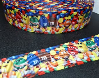 "M&Ms candy  1"" grosgrain ribbon for hair bows, scrapbooking, other crafts - sold in lengths of 1, 3, or 5 yards - M2229"