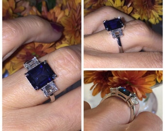 Sapphire & Moissanite Engagement Ring Emerald Cut Center Lab 10x8mm Sapphire with 1.16ct Emerald Cut Forever One Moissanite 14kt Gold ring