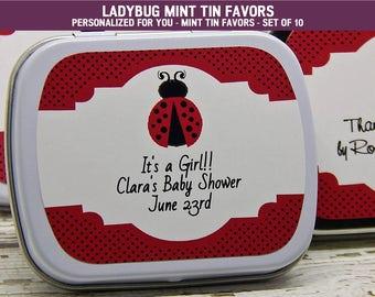 Ladybug Baby Shower - Ladybug Baby Shower Ideas - Ladybug Baby Shower Decorations - Ladybug Baby Shower Favors - Mint Tins - Set of 10