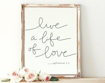36x48 Live a Life of Love Scripture Handlettered Print