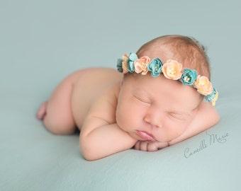 Flowers Newborn Tieback, Newborn Headband, Baby Tieback, Organic Tieback, Photo Prop, Baby Prop, Yellow Green Orange Pink Peach Headband