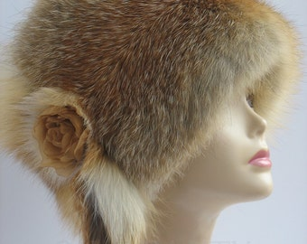 Russian fox FUR HAT fur accessories real fur  Hat fox fur Hat  Women's Winter Fur Hat fur accessories Winter hats styled Winter women dress