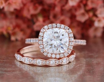 Forever One Moissanite Engagement Ring and Scalloped Diamond Wedding Band Bridal Set in 14k Rose Gold 8x8mm Cushion Cut Halo Diamond Ring