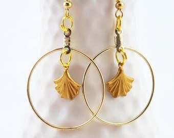 gold hoop earrings - gold dangle earrings - gold ginkgo leaf earrings - ginkgo earrings - ginkgo charm earrings - gold plated ginkgo leaves