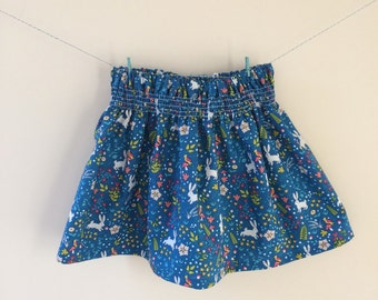 Rabbit skirt, bunny skirt, easter skirt, rabbit print, rabbit gift, bunny print, bunny gift, smocked skirt, baby skirt, toddler skirt