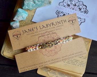 Peace Bracelet. Custom Colours. Hemp Bracelet. Anklet. Hippie. Boho Jewelry.