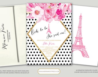 Paris Bridal Shower Invitation // Eiffel Tower // Pink // black and white // Ooh la la // gold glitter // polka dot // RALEIGH COLLECTION