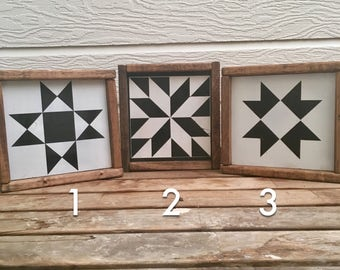 ONE Barn Quilt   Farmhouse   Rustic   Framed Wooden Sign