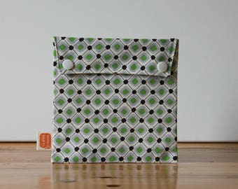 Reusable sandwich bag, reusable snack bag, fabric bag with Green/gray square print #171, eco friendly, no waste lunch box, ProCare, washable