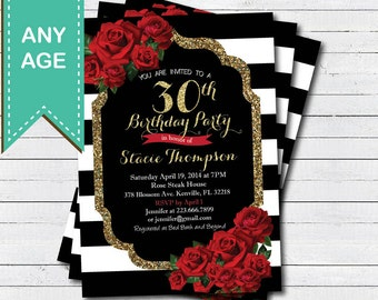 30th birthday invitation for lady. Red rose black and gold glam Valentine woman birthday invite. Any age. Printable digital file. AB146