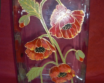 Hand painted Crystal Vase with Poppies