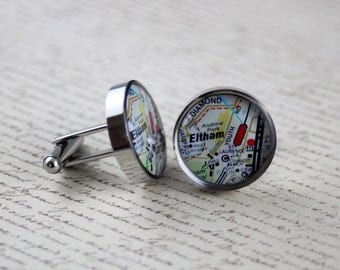 Resin cufflink, map, melways, suburb, round or square