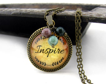 Inspire Necklace, Vintage Style Necklace, Bronze, Steampunk Necklace, Inspirational, Beads, Charms, Pearl Drop, Words, Antiqued