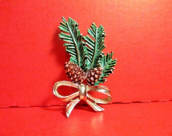 VIntage Christmas Pin, Pine Bough Brooch, Enameled Christmas Tree Branch, Gerry's Pinecone Brooch, Yule Brooch, Mid Century Christmas Pin