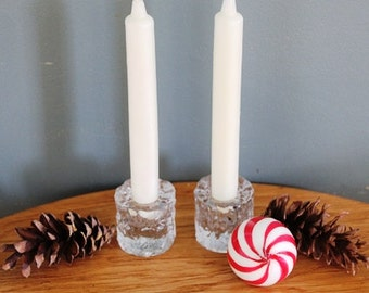 Mid century Scandinavian Swedish ice glass candle holders