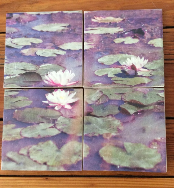 Water Lilies Coasters- Set of 4 Ceramic Coasters