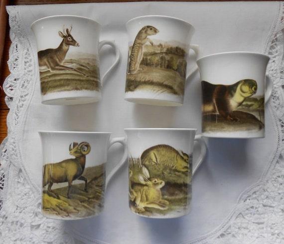 5 Audubon Porcelain Mugs Horchow Collection