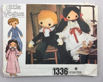 Vintage 70's Little Vogue 1336 Girl and Boy Doll and Clothes uncut 32 inches