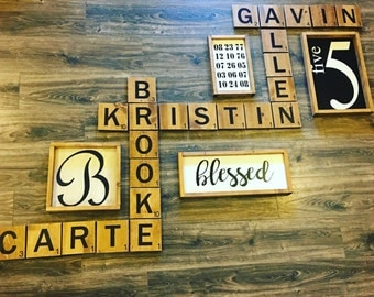 Large letter wall tiles! Scrabbl wall art- Display family names in a beautiful and playful way! Wood wall art. Game room