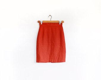Pure linen burnt orange pencil skirt