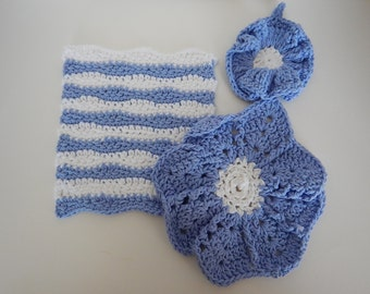 Dish/Wash Cloths - Set of 3 - Baby Blue & White! - 100% Cotton - Hand Crocheted - Cleaning - Bathroom - Kitchen - Wedding