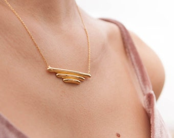 Pyramid Tube Necklace, Triple Tube Necklace, Statement Bar,  Line Bar Necklace, Silver Bar Necklace, Trilogy Pendant.