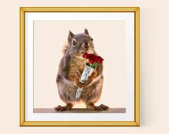 Girls Decor, Girls Room Decor, Girls Bedroom, Funny Gift for Her, Squirrel Poster, Romantic Gift, Squirrel Art, Funny Prints, Red Roses