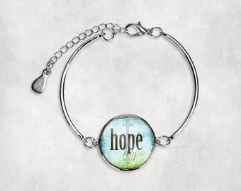 Christian Bracelet•Hope Bracelet•Hope•Inspirational•Silver Bracelet•Bracelet•Religious•Faith•Gift under 20•Gift for Her• Encouragement