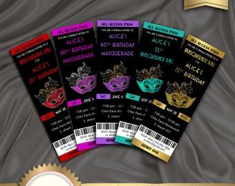 Printable Masquarade Ball Birthday Party Invitation, Ticket Invitation, Mask invitation, Mardi Gras Party, Sweet 16 - Digital File, MBG01