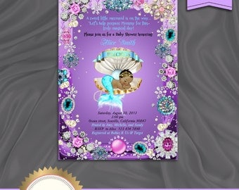 Mermaid Baby Shower Invitation, Little Mermaid Baby Shower Invite, Under the Sea, Baby Girl, Purple, Aqua - Printable, Digital file