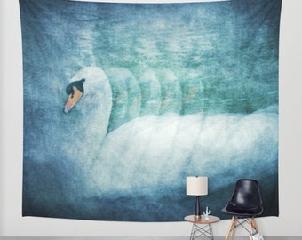 free shipping Swan tapestry, large size wall art, photo tapestry, wall hanging, swan tapestry, blue tapestry, bird animal abstract surreal
