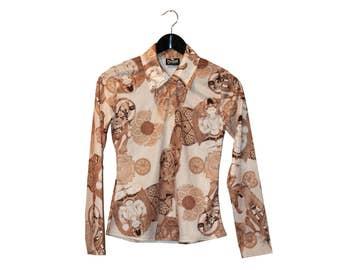 1990s vintage women bouddha shirt 90s top - vintage clothing