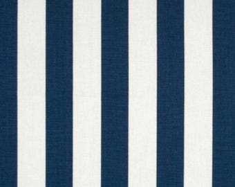 "Navy blue & white vertical stripes 3 sided 13"" drop crib skirt"