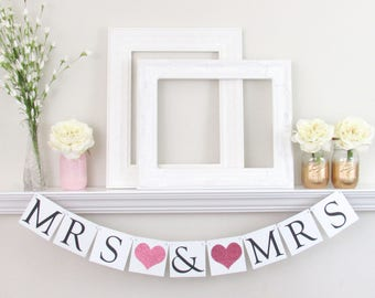 Mrs And Mrs Banner   Lesbian Wedding Banner   LGBTQ Wedding Sign   Mrs And  Mrs