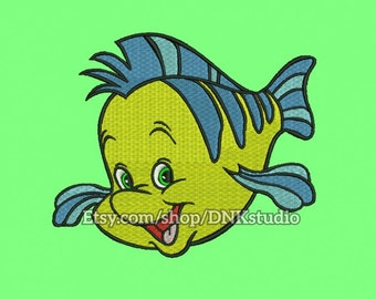 Disney Flounder The Little Mermaid Embroidery Design - 5 Sizes - INSTANT DOWNLOAD
