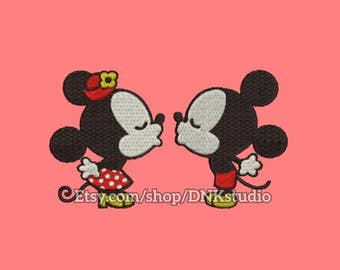 Disney Mickey and Minnie Mouse Kissing Embroidery Design - 5 Sizes - INSTANT DOWNLOAD