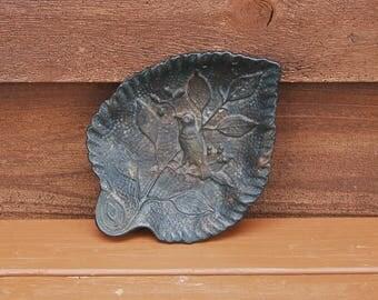 Cast Iron Leaf Dish, Vintage Iron Leaf Dish, Cast Iron Bird on Leaf,  Candy Dish, Key Tray