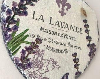 Slate heart, lavender decor, purple decor, la lavande home decor, french plaque, slate heart, country home decor, lavender heart