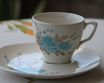 "Vintage 1960s  Johnson of Australia Sovereign Pottery Tea Cup and wide saucer"" Blue Chrysantheum"""