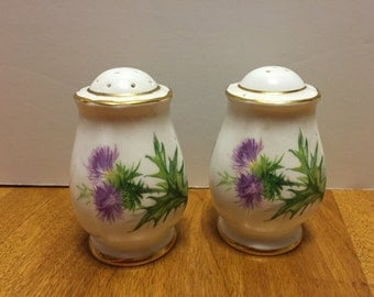 English Thistle Salt and Pepper Shakers Vintage White Floral Fine Bone China Condiment Set