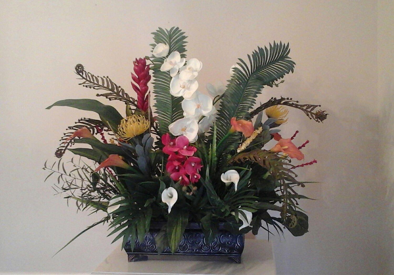 Silk Arrangements For Home Decor Tropical Floral Arrangement Large Silk Floral Centerpiece