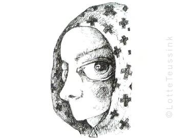 Spooky ACEO, gothic art drawing, original art card, ACEO cards, black & white illustration, artist trading card, atc, big eye fantasy art
