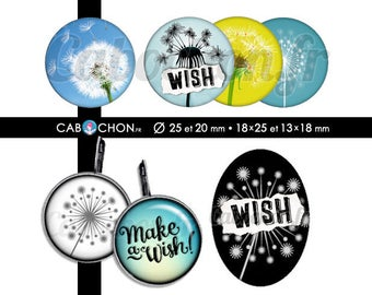 Make a Wish!  -Page digital images for cabochons - 60 images to print dandelion Taraxacum wishes dandelion flower page cabochon
