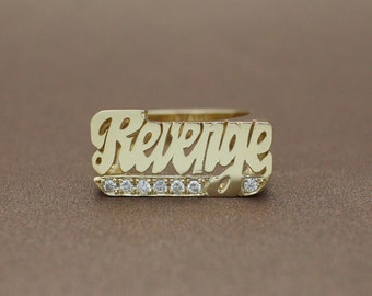 revenge ring 14k yellow gold with natural diamond 0.2 cts revenge jewelry
